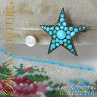 SOLD! - (ANTIQUE) Rare Georgian Charming Pavé Persian Turquoise Sterling Silver Gilt Star Pin Brooch c.1790 - 1840!