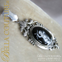 SOLD! - Extremely RARE Victorian Miniature Putti Angel Cherub Enameled Necklace or Bracelet Pendant Charm