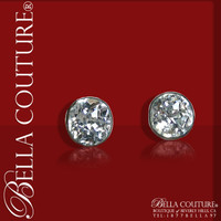 SOLD! - Gorgeous! Rare Antique Victorian Mine Cut Faceted Diamond-Shaped Rock Crystal Solitaire Studs Sterling Earrings