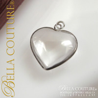 SOLD! - Rare Gorgeous Antique Victorian Petite Heart Rock Crystal Pendant Charm Circa 1880 - 1900