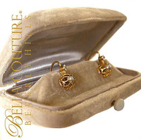 SOLD! - Gorgeous Fine Antique French Victorian circa 1838 18K Yellow Gold Salt Water Pearl & White Sapphire Earrings