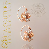SOLD! - Rare Gorgeous Antique Victorian Dainty 18K Rose Gold Pearl Circa 1838 Ornate Earrings Fine Jewelry