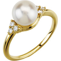 (NEW) BELLA COUTURE® Diamond Cultured Pearl 14K Yellow Gold Ring