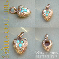 SOLD! - (ANTIQUE) Rarest Gorgeous Antique Georgian Pavé Turquoise Puffy Heart c.1790 - 1840! 18K Gold Charm Pendant