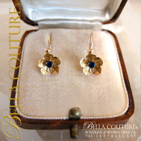 SOLD! - (ANTIQUE) Victorian Blue Sapphire 18K Yellow Gold Floral Flower Petal Earrings