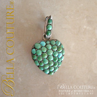SOLD! - (ANTIQUE) Rare Georgian Victorian Sterling Silver Pavé Turquoise Heart Locket  c.1790 - 1840! Charm Pendant