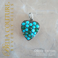 SOLD! - (ANTIQUE) Rare Georgian Victorian Sterling Silver Gilt Pavé Turquoise Heart c.1790 - 1840 Charm Pendant