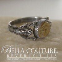 (ANTIQUE) Rare Victorian circa 1870-1890 One of a Kind Sterling Silver Carved Lava Cameo Ring Fine Jewelry