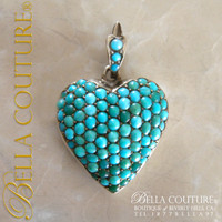 SOLD! - (ANTIQUE) Rare Georgian Victorian Sterling Silver Pavé Turquoise Heart Locket, c.1790 - 1840! Charm Pendant