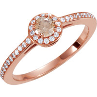 (NEW) BELLA COUTURE® 3/8 CT Cognac Diamond 14K Rose Gold Engagement Ring