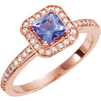 SOLD OUT! - (NEW) BELLA COUTURE® 1/5 CT Diamond Princess Tanzanite 14K Rose Gold Engagement Ring