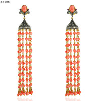 (NEW) (SPECIAL ORDER) BELLA COUTURE® HAUTE COUTURE 1.34 CT DIAMOND CORAL DANGLE DROP TASSEL EARRINGS in 14K Gold
