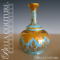 SOLD! - (ANTIQUE) Rare Victorian MOSER French Floral Opaline Bohemian Gilt Gold Vase Bottle