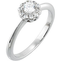 (NEW) BELLA COUTURE® 1/2 CT DIAMOND FLORAL ENGAGEMENT RING in 18K White Gold