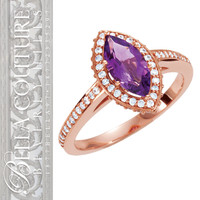 (NEW) BELLA COUTURE® DIAMOND & MARQUISE AMETHYST RING in 14K Rose Gold