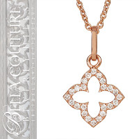 "(NEW) BELLA COUTURE® Bordeaux PETITE Pavé DIAMOND QUATREFOIL in 14K Rose Gold Necklace & Charm Pendant Set (16"")"