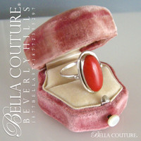 (ANTIQUE) Rare Victorian c.1800s Oval Natural Coral Sterling Silver Ring Fine Jewelry