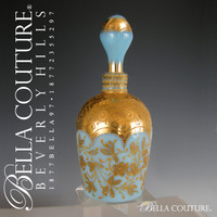 SOLD! - (ANTIQUE) Rare Gorgous 1880s Small Moser Blue Opaline Gilt Enameled Glass Perfume Scent Bottle