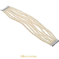 (NEW) BELLA COUTURE® MULTI STRAND FRESHWATER CULTURED PEARL BRACELET WITH FINE STERLING SILVER