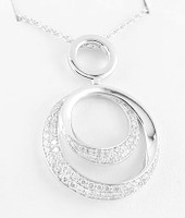 (NEW)  Bella Couture® Bordeaux O Infinity Pavé Diamond 14K White Gold Necklace & Pendant Set 18""