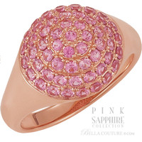 SOLD OUT! - (NEW)  Bella Couture® Bordeaux Pavé Pink SAPPHIRE Ring in 14K Rose Gold