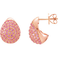 (NEW) Bella Couture® Bordeaux Fine Pink SAPPHIRE Collection Earrings in 14K Rose Gold