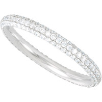 (NEW) Bella Couture ® ISABELLA Micro Pave' White Diamond 14K White Gold Ring Stackable Eternity Band