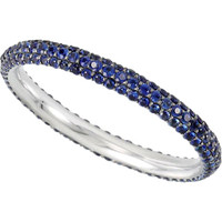 (NEW) Bella Couture ® ISABELLA Micro Pave' Blue Genuine Sapphire 14K White Gold Ring Eternity Band