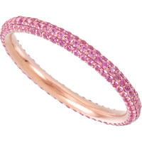 (NEW) Bella Couture ® ISABELLA Micro Pave' Pink Genuine Sapphire 14K Rose Gold Eternity Ring Band