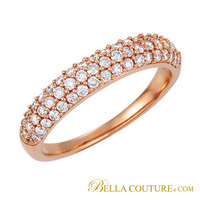 (NEW) Bella Couture® Bordeaux Pavé 1/2 CT Diamond 14K Rose Gold Ring Band