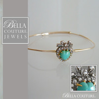 SOLD - (ANTIQUE) Rare Gorgeous Georgian Victorian Rose Cut Diamond & Persian Turquoise Puffy Heart 18K Yellow Gold Bandle Bracelet