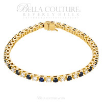 (NEW) Bella Couture® Elegant 3.25CT Diamond & Blue Sapphire 14K Yellow Gold Bracelet
