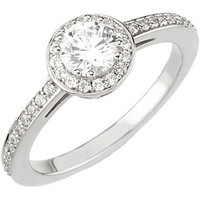 (NEW) BELLA COUTURE ® FINE 3/4 CT DIAMOND ENGAGEMENT RING in 18K White Gold