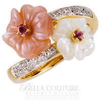 (NEW) BELLA COUTURE® FINE DIAMOND TOURMALINE CARVED MOTHER OF PEARL FLOWER FLORAL RING in 14K Yellow Gold