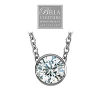 (NEW) Bella Couture® Elegant .38CT Diamond Slide Solitaire Pendant Platinum Necklace with Chain 18""