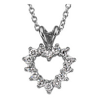 (NEW) Bella Couture® Elegant .25CT Diamond Heart Pendant Platinum Necklace with Chain 18""