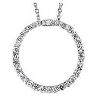 (NEW) Bella Couture® Elegant 1/2CT .50CT Diamond Circle Platinum Pendant Necklace with Chain 18""