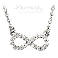 (NEW) Bella Couture® Dainty & Elegant 1/8CT .25CT Diamond Platinum Infinity Charm Pendant Necklace with Chain 16.5""