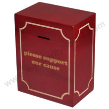 Wood Block Large Donation Box - With Impressed Message