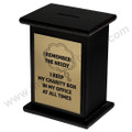 Side Display Wood  Donation Box in Mahogany Wood with Metal Plate (gold color)