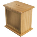 Front Window Wooden Charity Box - Natural Color