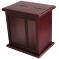 Front Display Window Mahogany Wood Charity Box