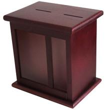 Front Display Window Mahogany Wood Charity Box