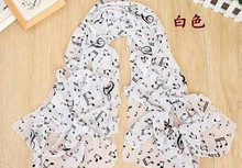 music note scarf in white