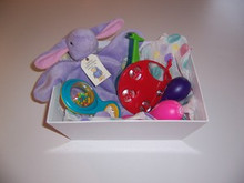Baby safe musical gift basket with a bunny lovey
