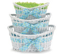 Oval White Willow Basket -Pink or Blue Plaid ribbon, Medium