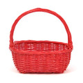 Oval Willow Handled Basket in Red