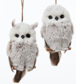 Set of Two Kurt Adler Brown and White Furry Hanging Owl Ornaments