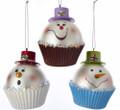 Set of 3 Glass Snowman Head Cupcake Ornaments by Kurt Adler