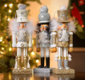 Set of 3 - 10.5-Inch Hollywood™ Silver, Gold & White Soldier Nutcrackers